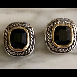 Jewelry - Black Stone Clip on Earrings